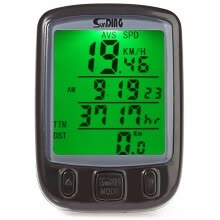 -Computer Odometer Speedometer Sunding SD-563A Waterproof LCD Display Cycling Bike Bicycle with Green Backlight on JD