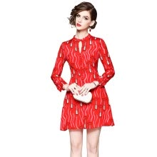 -2018 New Summer O-Neck Red Print Full Sleeve Lovely A-Line Casual Knee-Length Dress Womens Red Elegant Dresses on JD