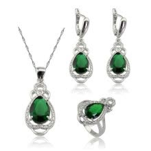 ring-sets-EIOLZJ Fashion Beautiful Deep Green Water Drop Cubic zirconia Silver Plated Jewelry Sets for Women Free Jewelry Box on JD
