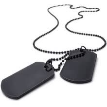 -Hpolw New Style Men's Stainless Steel Casting Black Army Style Dog Tag Pendant Necklace Chain on JD
