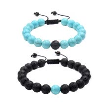 beads-Distance Relationship Bracelet for Couple-2pcs Natural Black Lava & Turquoise Stone Bead Bracelet Especially for you Couple Gift M on JD