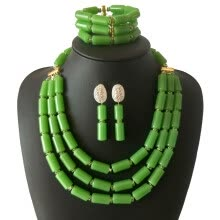 875062459-2018 Newest African Wedding Green Coral Beads Jewelry Set Bridal Party Statement Necklace Bracelet Earrings Set free delivery on JD