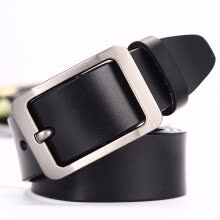 -Japanese pin buckle leather belt men's two-layer leather belt classic casual explosion belt on JD