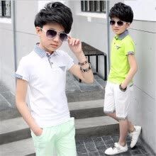 -Summer T Shirt & Pants 2 PCS Boy Clothing Sets Casual Sports Short Sleeve Plaid Kids Tracksuits 5 6 7 8 9 10 11 12 13 14 Year on JD