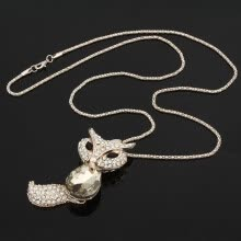 875062455-Long zircon Fox Sweater Necklace Rhinestone Gift Gold Fashion Animals on JD