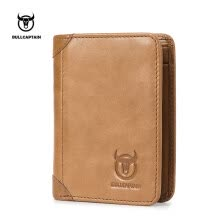-Bullcaptain Cowhide Short Wallets Vintage 8 Card Holder Coin Men's Fashion Purse on JD