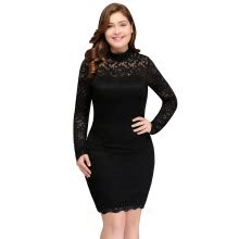 -Cheap cocktail dresses plus size Women's Sexy Lace Long Sleeve Knee Length Short cocktail party dress vestidos de coctel 2017 on JD