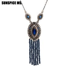 -Long Natural Stones Bead Tassels Pendant Necklace Turkish Women Ethnic Wedding Jewelry Blue Resin Crystal Vintage Sweater Chain on JD