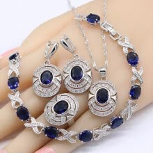 -Dark Blue Sapphire 925 Silver Stamped Jewelry Sets For Women Bracelet Earrings Rings Necklace Pendant on JD