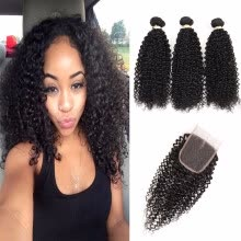 -HCDIVA Cheap Malaysian Kinky Curly 3 Bundles Human Hair Bundles with Lace Closure Free Part  Malaysian Virgin Curly Hair Weave on JD