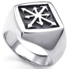 -Hpolw Mens European style tide male domineering creative cross Stainless Steel steel Vintage rings Silver&Black on JD