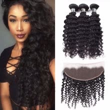 -Amazing Star Bundles with Frontal Peruvian Virgin Hair Deep Wave with Frontal Deep Wave Human Hair with Frontal Natural Color on JD