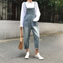 jumpsuits-playsuits-bodysuits-Womens Ladies Baggy Denim Jeans Full Length Pinafore Dungaree Overall Jumpsuit on JD