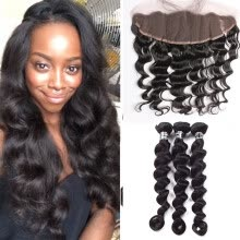 -7A Peruvian Virgin Hair 3 Bundles With 13x4 Lace Frontal Loose Wave Hair Amazing Hair Weft Ocean Hair Weave Silky Texture  on JD