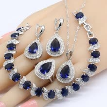 -Jewelry Sets For Women 925 Silver Logo Wedding Dark Blue Sapphire Bracelet Earrings Necklace Pendant Rings on JD