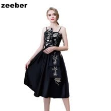 -Sexy short Evening Dresses black Elegant Sleeves Lace Satin Party Gown Prom Dress Women lace upEvening Gowns on JD