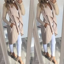 -Autumn Fashion Women Long Sleeve Cardigans Ladies Irregular Solid Color Slim Fit Coats and Jackets Casual Long Outerwear Over Coat on JD