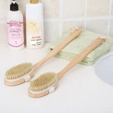 -2 In 1 Removable long-handled wooden natural bristle brush bath brush massager Baby bath Shower bathroom accessories on JD