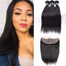 -Amazing Star Indian Virgin Straight Hair Bundles with Frontal Top Quality Human Hair with Closure Free Part Soft and Bouncy on JD