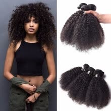 -Amazing Star Afro Kinky Curly Bundles Peruvian Virgin Hair 3 Bundles Afro Kinky Curly Hair Weave Can Be Dyed and Bleached on JD