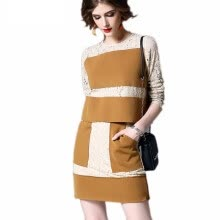 875061819-2018 New Spring Hit Color Stitching Lace Long-sleeved T-shirt + Mini Skirt Two Piece Set Women on JD