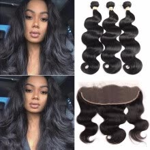 -Brazilian 3 Bundles Body Wave with Lace Frontal Body Wave with 13x4 Closure Free Part  Virgin Human Hair Weave with Closure on JD