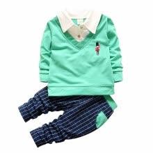 75c38abff14 -Мода Весна Осень Дети Мальчик Девочка рубашка Воротник Одежда Детские  футболки Брюки 2 шт
