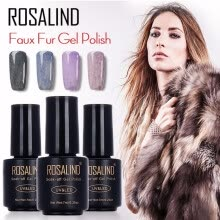 -ROSALIND Black Bottle 7ML Faux Fur Effect P01-12 Gel Nail Polish Nail Art Nail Gel Polish UV LED Long-Lasting 3D Gel Lacquer on JD