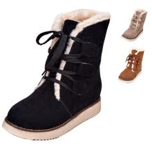 875061444-Winter Women's Fur Lining Round Toe Lace Up Warm Ankle Boots Martin Snow Shoes on JD
