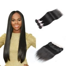 -Ishow 7A Straight Human Hair Lace Frontal Closure With 3 Bundles Peruvian Hair Weave Natural Black Free Shipping on JD
