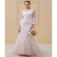-Sheath / Column Neck Court Train Tulle / All Over Lace Illusion Wedding Dresses with Appliques / Buttons by CIRCELEE on JD