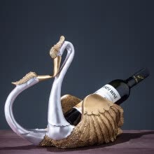 -Resin gold and silver swan wine rack home decoration creative wine cabinet living room porch furniture furnishings wedding gift on JD