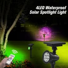 875072182-4LED Solar Spotlight Light Waterproof Solar Powered Lawn Wall Garden Lights Outdoor Spotlight Light with Infrared Remote Control on JD