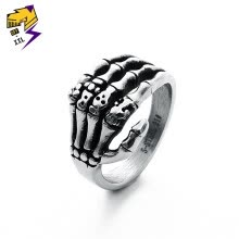 -Punk Skeleton Finger Rings for Men Stainless Steel Vintage Silver Skull Hand Ring Women Engagement Fashion Jewelry Nickel Free on JD