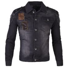 -Zogaa Men's Jeans Jacket Patchwork Leather Fashion Holes on JD