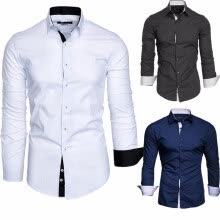 -Men Fashion Long Sleeve Shirts Cotton Business Turn-down Collar Shirts Plus Size XS-4XL on JD