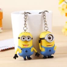 875062462-2Pcs Despicable Me 3D Eyes Minions Rubber Key Ring Key Chain Cute Toy Gift on JD