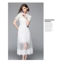 3a0c42144bb09d0 S M L XL XXL старинные кружева нового лета 2018 длинное платье женщин  короткий рукав белый повязку полые из элегантных
