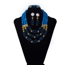 875062459-wedding jewelry gift Nigerian Dark Blue Ball Beaded Coral Set African Bridal Necklace Earrings Bracelet Set 2018 on JD