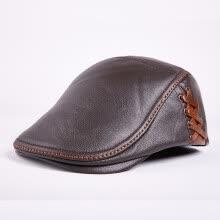 Gorro de piel de vaca de los hombres Sombrero caliente de cuero genuino de  adulto Sombrero joven Gorra de cuero de mediana edad Sombrero simple Gorra  de ... aaa1e4099ff