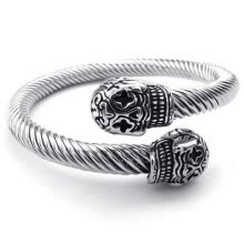 -Hpolw silve Stainless Steel Biker Gothic Skull/skeleton Cable screw type bracelet/Bangle on JD