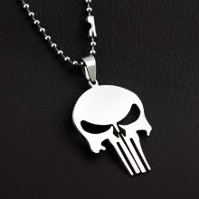 875062455-New Super Heroes Anime Necklace Stainless Titanium Steel Silver Pendant Necklace  THE PUNISHER on JD