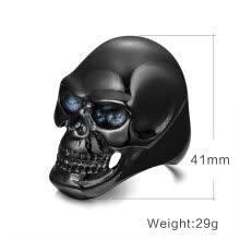 statement-rings-Hot Sale Men Fashion Jewelry Domineering Thick 316L Titanium Stainless Black Skull Ring Chunky Men Finger Ring Accessories for Prom Party Birthday Gift on JD