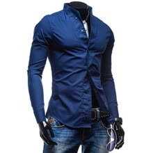-Zogaa Men's Shirt Slim Stand Collar Casual Long Sleeve on JD