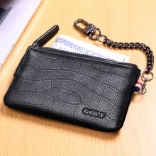 -Golf GOLF key bag men and women suede leather retro zipper key bag car keychain multi-function key package Q8BV41907J black crocodile pattern on JD