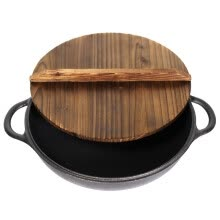 -[Jingdong supermarket] cast taste (Jill May) 28cm cast iron flat bottom frying pan steak frying pan induction cooker general wood cover section on JD