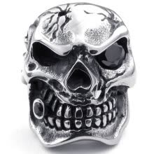 -Hpolw High Quality Mens Cubic Zirconia Stainless Steel Skul Gothic Punk Biker bones ring on JD