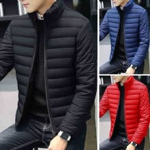875061442-Men's Fashion Pure Color Long Sleeve Stand Collar Breathable Keep Warm Casual Zipper Cardigan Coat on JD