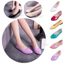 875061444-Women Pointy Toe Shoes Faux Leather Candy Color Casual Flat Ballet Dress Loafer on JD