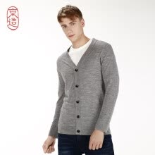 -J.ZAO Men's merino wool base cardigan light gray XS (165/88A) on JD